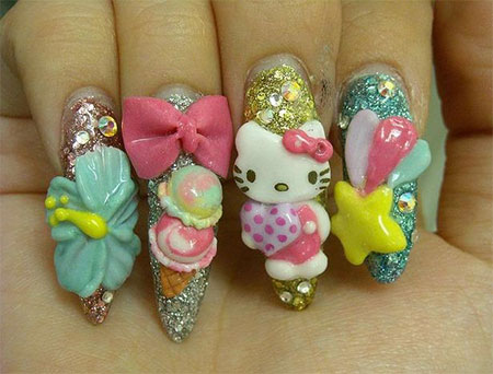 Easy-Hello-Kitty-Nail-Art-Designs