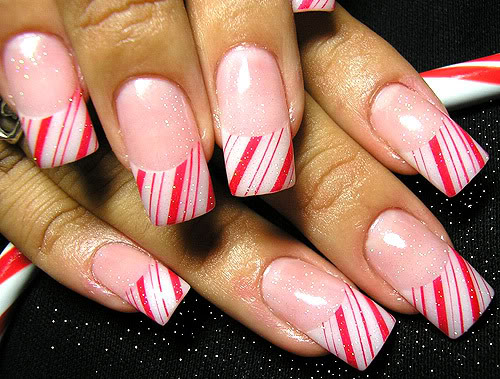 Red candy stripes nail art design