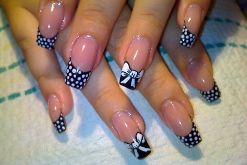 Unique-French-Nails-With-White-Dots