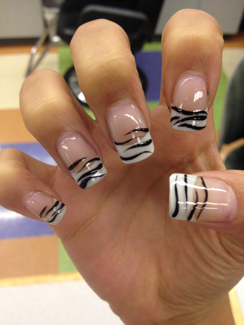 white and black nails