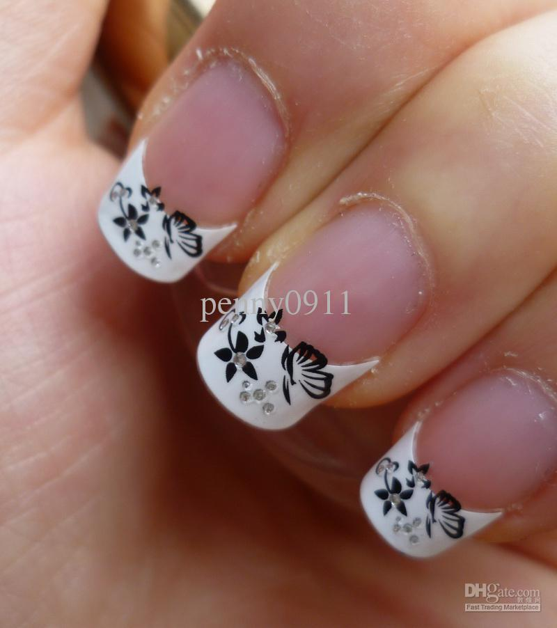 black and white stickers french nail