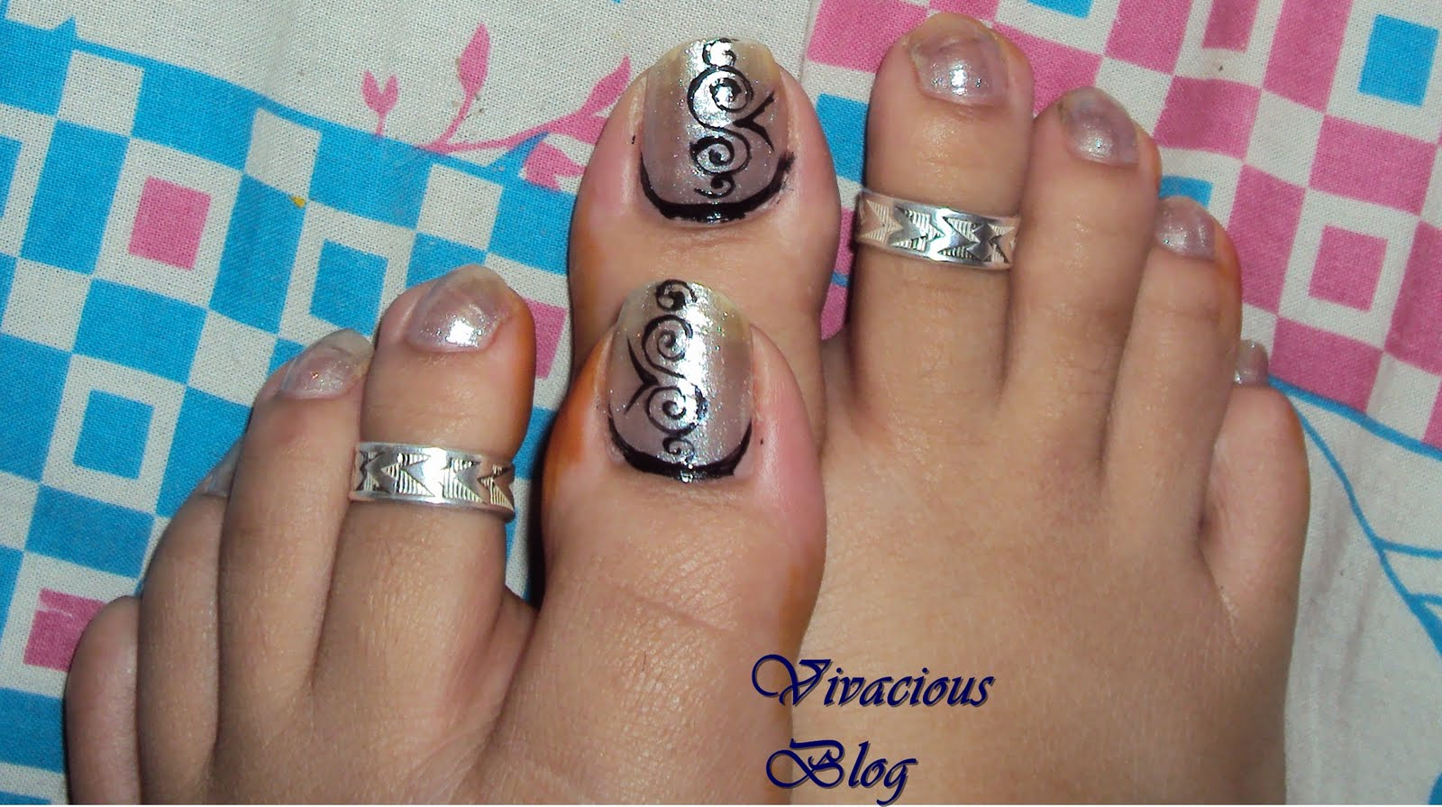 Beautiful feet black nails