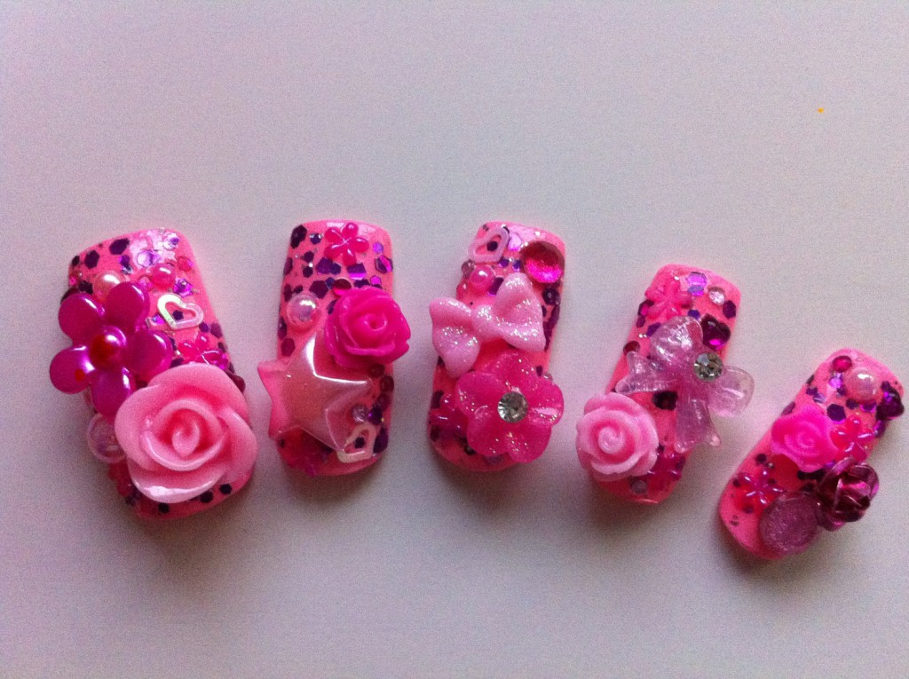 Pink artificial nails