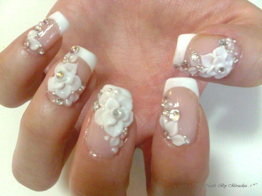 nail-art-designs-white-3d-flower-nail-art- - 3D Nail Stickers Nail Art Designs – NAILKART.com