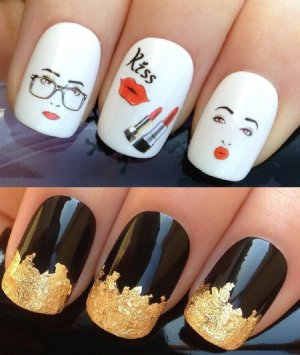 nail-art-set-156-a-sheet-of-water-nail-transfers-and-a-large-gold-leaf-sheet-for-custom-designed-nail-fashion-girl-pretty-face-pouting-lips-kiss-cool-sexy-secretary-glasses-specs-lippy-lipstick-water_4389953