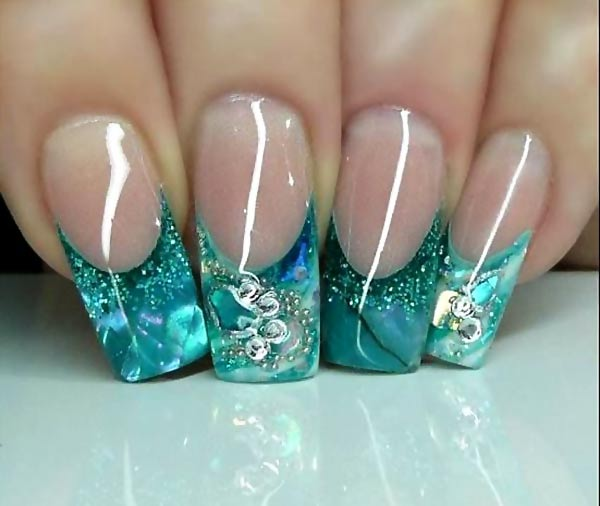 teal glitter acrylic nails