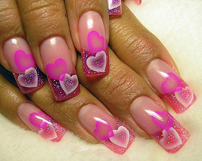 Pink love nail art designs