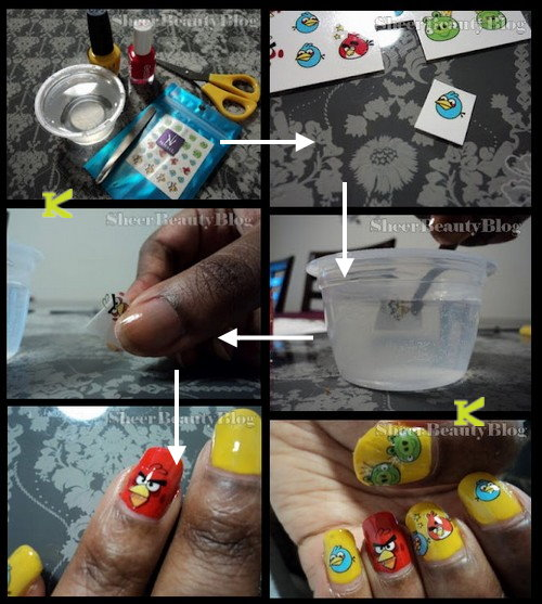 Angry birds water decal nail art stickers