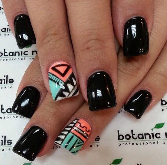 black acrylic nails designs