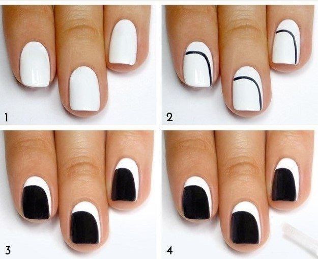 nail art designs black and white