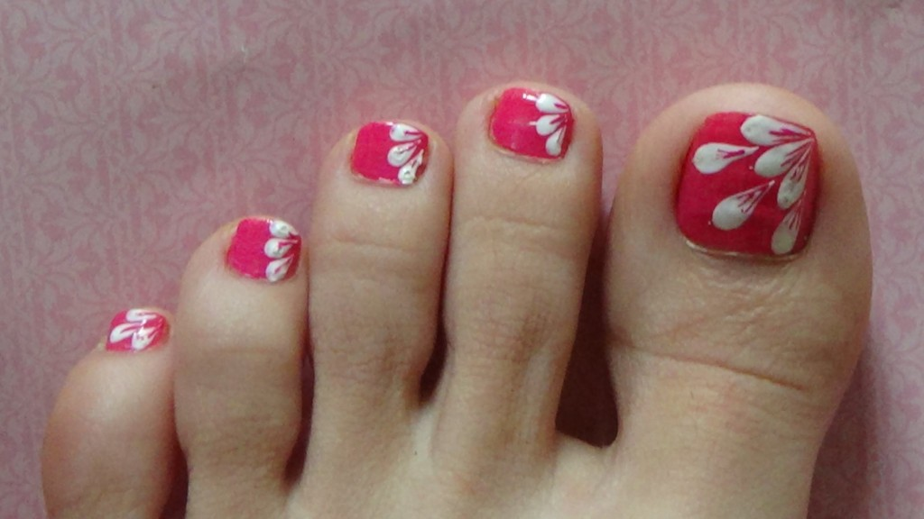 nail art toes flower