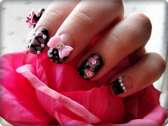 pretty 3d-bow-nail-art