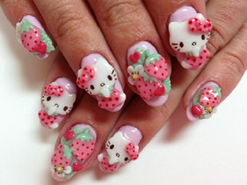 cute kitty nail arts
