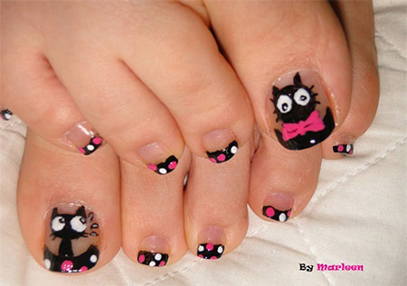 Cat-Face-Toe-Nail-Art-Designs-Ideas-2014-For-Girls-1