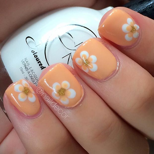 orange flower nail design