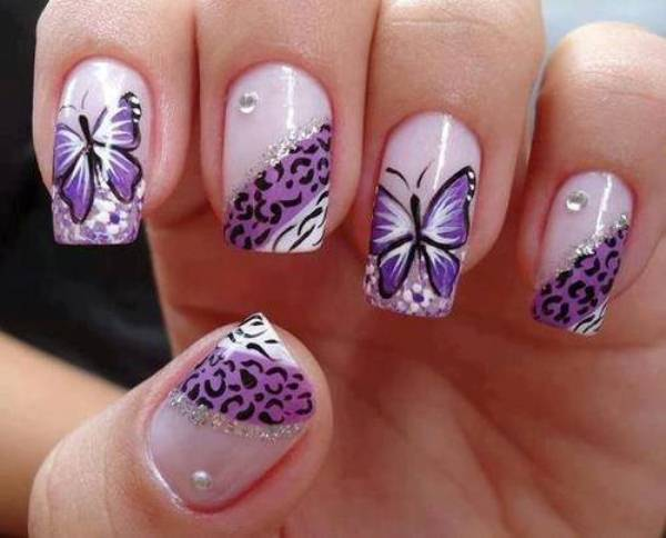butterfly sticker nail art design
