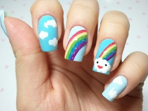 cute rainbow nail art designs