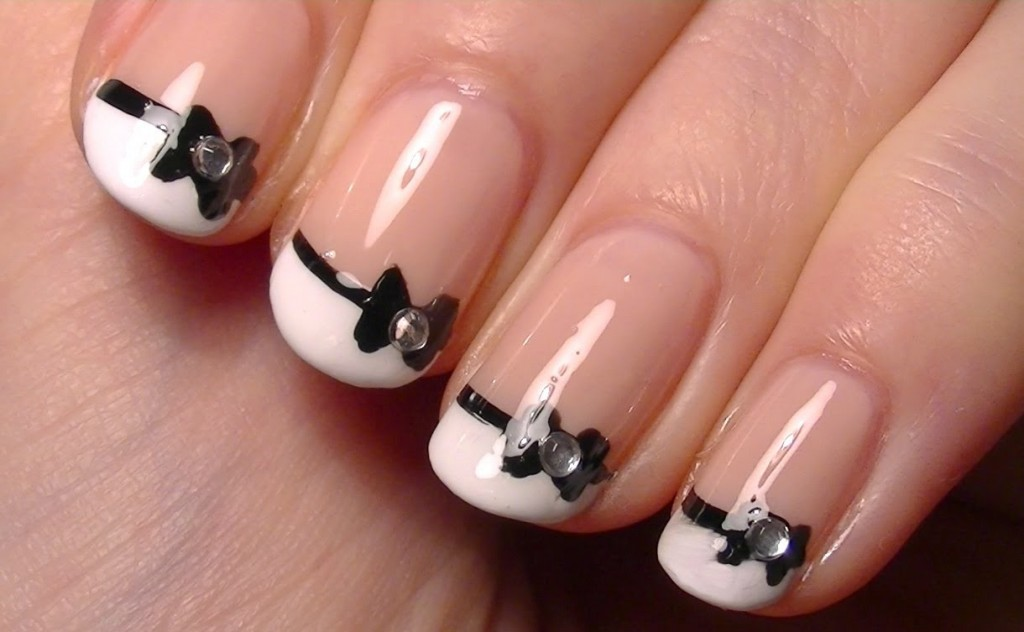 cute little bow nail art