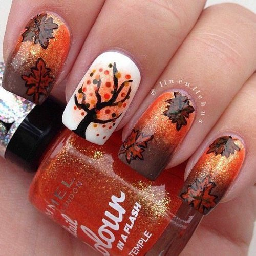 orange fall nail designs