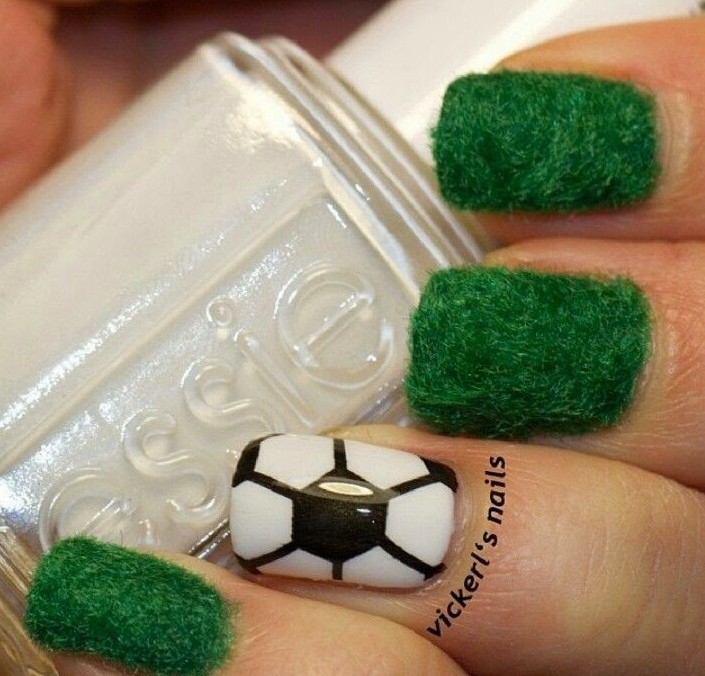 amazing fuzzy football field nails art for 2014 world cup - soccer grass flocking powder-f29900