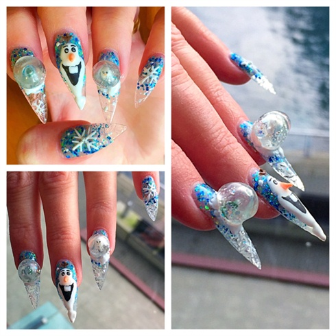 frozen nail art 1 - Disney Frozen Movie Inspired 15+ Best Nail Arts – NAILKART.com