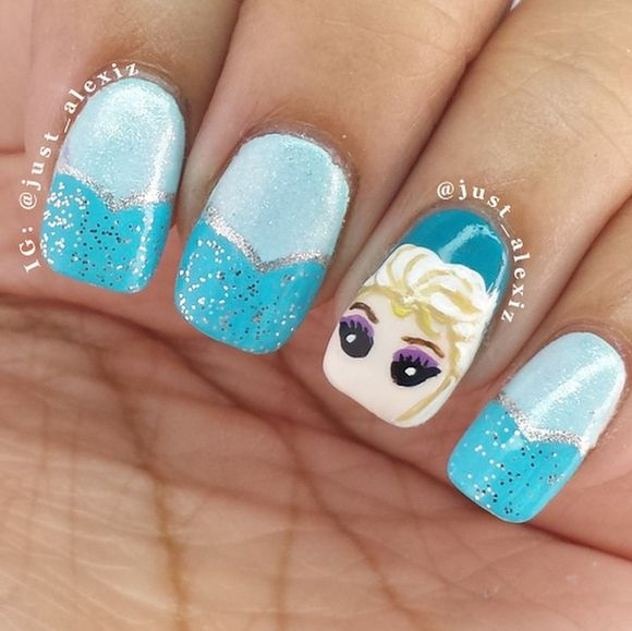 frozen nail art - Disney Frozen Movie Inspired 15+ Best Nail Arts – NAILKART.com